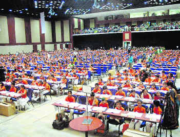 WHIZ KIDS: Schoolchildren participating in the biggest ever National Competition on Abacus and Brain Gym in Hyderabad on Saturday.